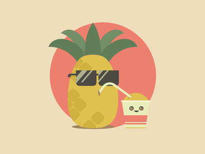 Pineapple Freshness eyeglasses drink walkie-cup cup illustration vector fresh freshness holidays august summer pineapple