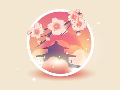 Sakura cherry blossom petals badge illustration vector sunset japanese flower japan spring sakura