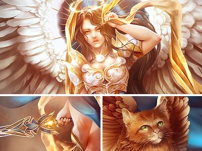 Digital Paint commission armor golden sword kitten wingsart warrior fantasy angel digitaldrawing digitalart digital 2d