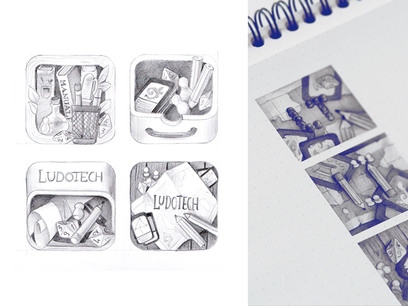 Ludotech logo sketches icons app icon player rpg app design logo design pencil sketch sketches logo hand drawn app