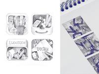 Ludotech logo sketches