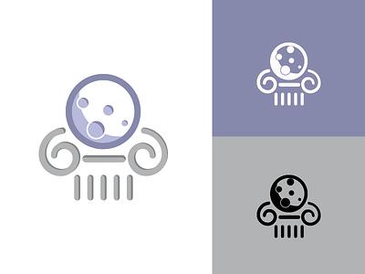 Hellenic Moon Logo magazine web design mithology column hellenic vectorart fullmoon moon brand logodesign logo