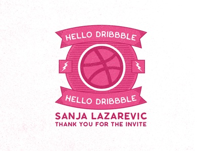 Hello Dribbble design follow new badge welcome join dribbble