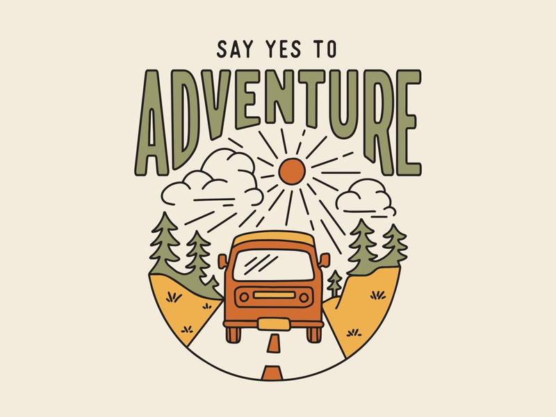 Say Yes to Adventure bus road trees adventure travel roadtrip rv van sun gold yellow vintage green orange procreate outdoors nature design illustration
