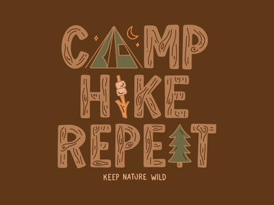Camp Hike Repeat green brown tent wood grain wood hiking hike tree smores camping camp procreate outdoors design nature illustration