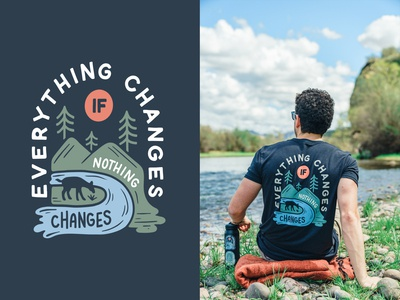 Everything Changes - Earth Day design tshirt apparel design vector illustration trees forest wild blue green procreate outside outdoors nature mountains river wildlife earthday earth change
