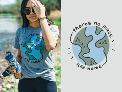 There's No Place Like Home sketch doodle illustration earth day shirt apparel homepage design outdoors nature blue green globe world earth home