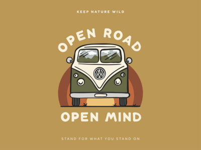 Open Road Open Mind vw vw van vw bus travel roadtrip road mountains rainbow vintage retro van bus wild procreate outdoors nature design illustration