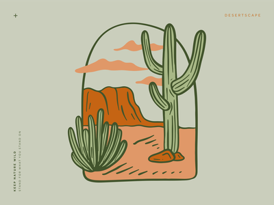 Desertscape landscape badge sky mountain organ pipe cacti cactus orange wild green procreate outdoors nature design illustration desert