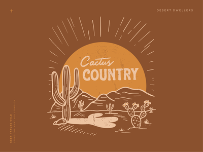 Cactus Country prickly pear mountains sunrise sun brown landscape desert cacti cactus country saguaro cactus vintage outdoors design nature illustration