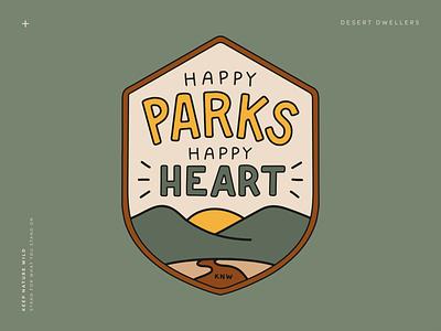 Happy Parks Happy Heart sticker badge landscape nps national park service national parks parks park green procreate outdoors nature design illustration