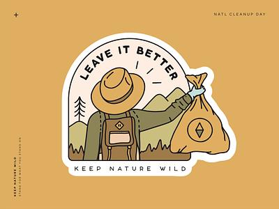 Leave it Better gold brown sticker design sticker illustration nature illustration forest wild mountains nature cleanup trash