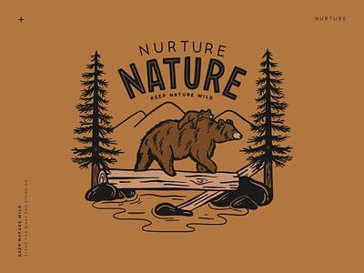 Nurture Nature nurture brown mountains forest animals wildlife forest woods landscape bears bear outdoors nature design illustration