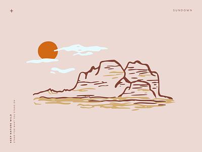 Sundown wild brown pink orange procreate outdoors nature design mountains landscape illustration sketch landscape sun sunset