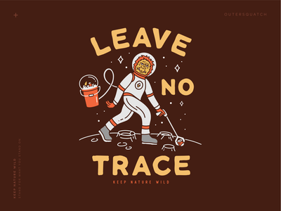 Outersquatch red yellow brown space suit astronaut squatch bigfoot sasquatch leave no trace space moon cleanup trash outdoors nature design illustration
