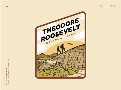 Theodore Roosevelt National Park vintage green wild illustration neutrals sticker design sticker outdoors landscape brown badlands hike hiking hikers national park nature park