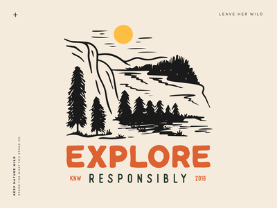 Explore Responsibly michigan forest trees yellow orange landscape mountains procreate outdoors nature design illustration
