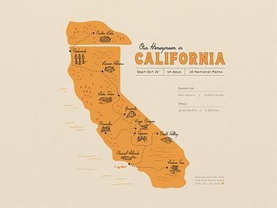 California Road Trip Map national park map park map national park california map california state california travel roadtrip map procreate outdoors nature design illustration