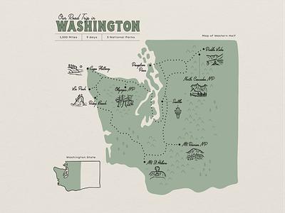 Washington State Road Trip Map national park map park map parks national park washington map washington state washington travel road trip map green procreate outdoors nature design illustration