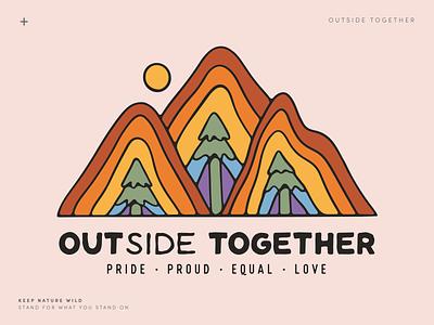 OUTside Together PRIDE procreate design outdoors pride month together outside illustration nature landscape illustration landscape mountain rainbow pride