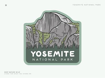 Yosemite National Park trees green landscape half dome mountain procreate outdoors nature design illustration yosemite national park park national park service national parks yosemite national park