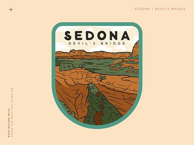 Devil's Bridge Sedona patch badge landscape hiking hike national park national parks mountains orange outdoors nature design illustration