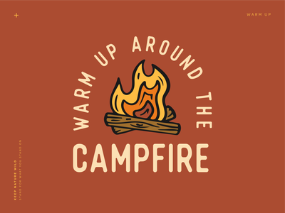 Warm Up clay red procreate bonfire camp camping fire campfire outdoors nature design illustration