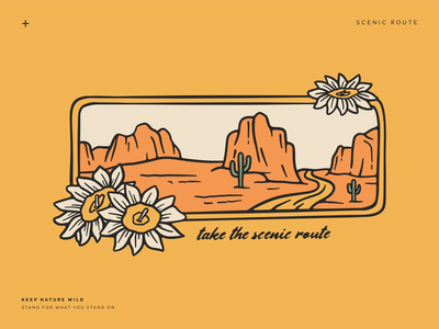 Scenic Route scenic route travel outside red rock saguaro hiking hike desert road trip gold procreate outdoors nature design illustration