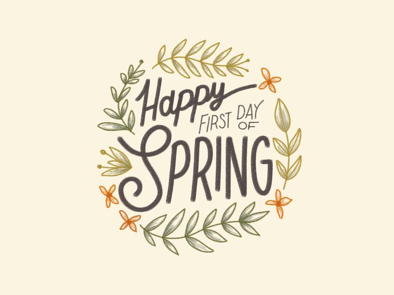First Day Spring! handdrawn illustration handdrawn procreate art procreate illustrate leaves plant green vintage orange flowers happy spring vector design illustration