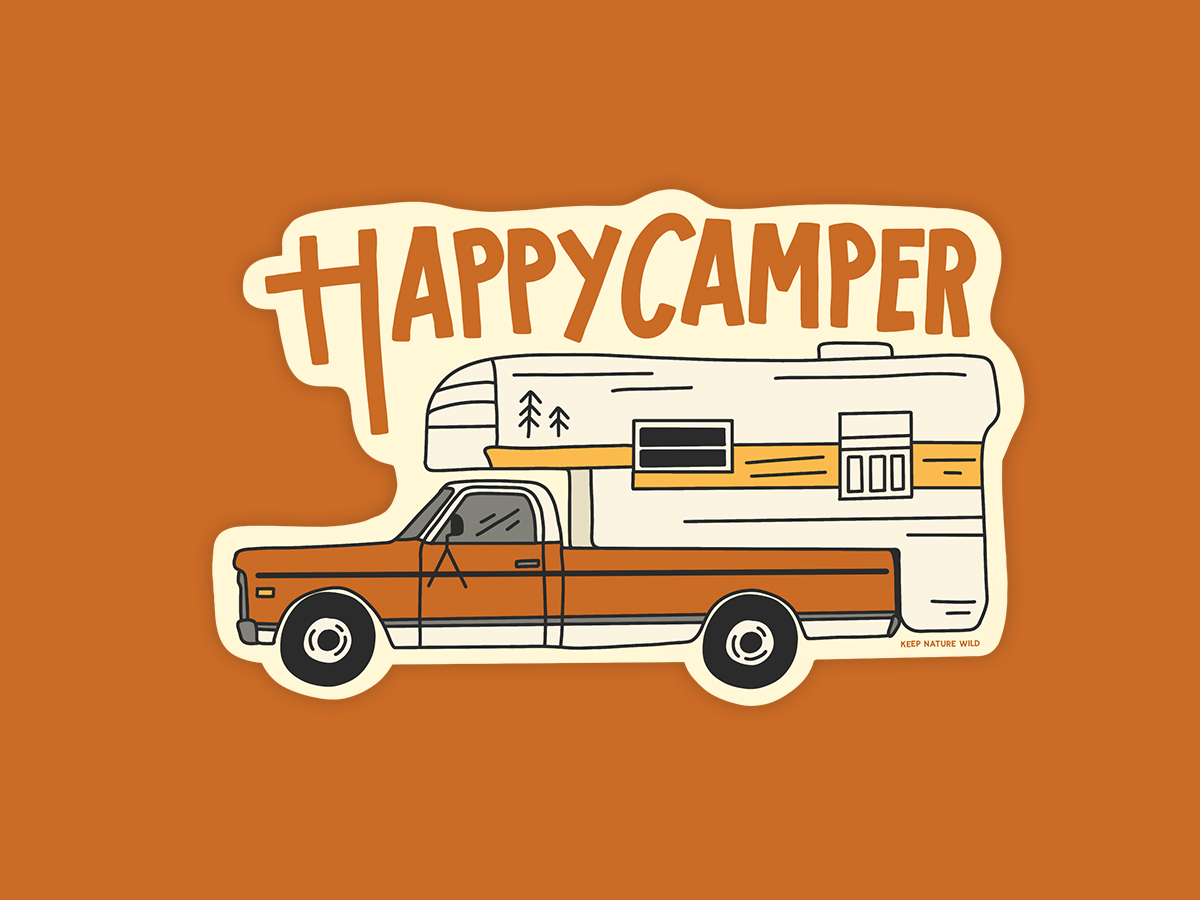 Happy Camper Sticker campers camping nature outdoors procreate sticker yellow retro vintage orange camper happy design illustration