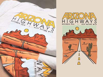 Arizona Highways x Keep Nature Wild green yellow orange wild shirt magazine cactus landscape arizona desert procreate outdoors nature design illustration
