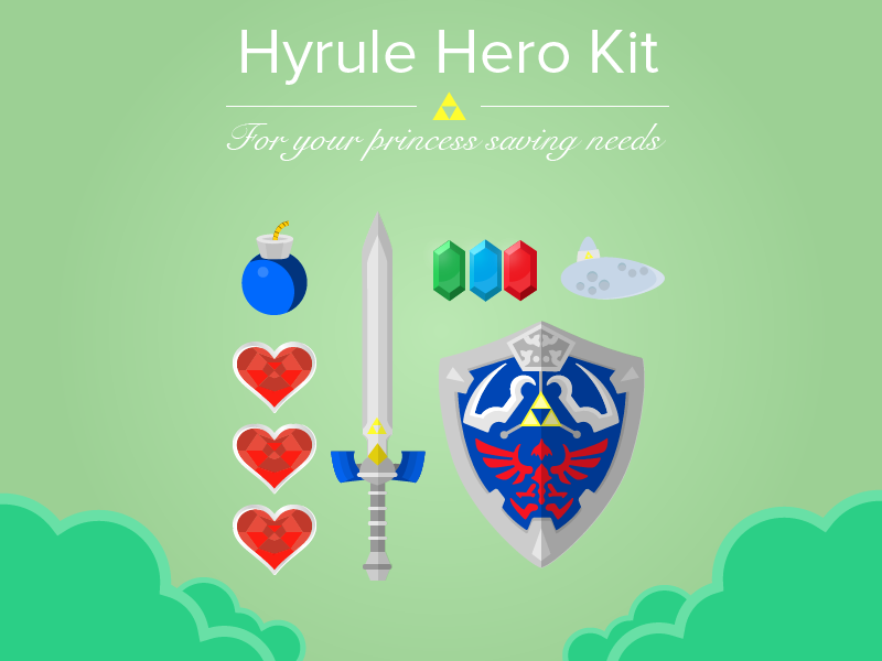 Hyrule Hero Kit zelda nintendo gaming link legend sword rupee bomb heart shield ocarina flat