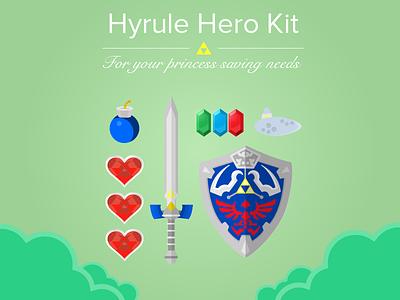 Hyrule Hero Kit zelda nintendo gaming link legend sword rupee bomb heart shield ocarina flat