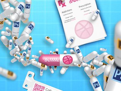 Dribbble Addiction pill. doctor medical addiction 3d modeling invite pink photoshop illustrator blue