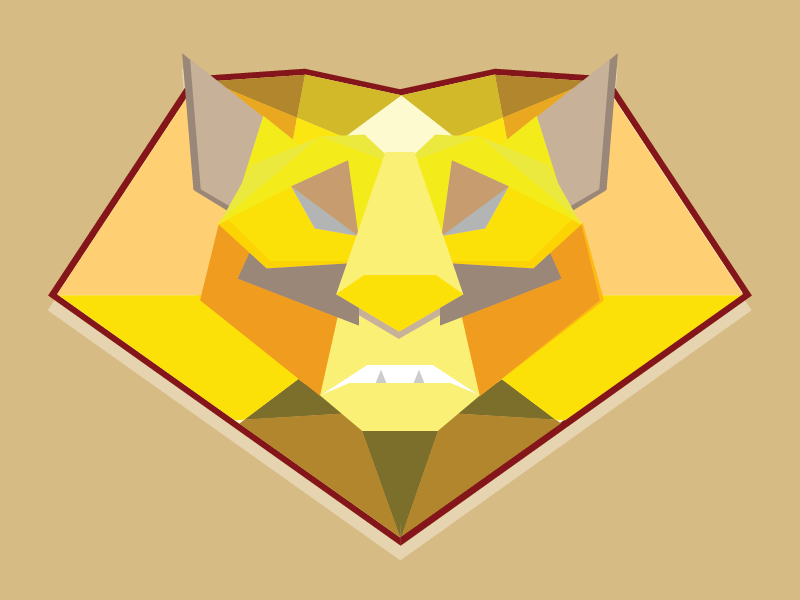 Lowpoly Lion lowpoly poly square lion animal 3d illustrator college render yellow