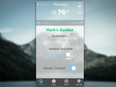 Garden App Home Screen app lock screen dashboard ios7 blue weather mountain tab green