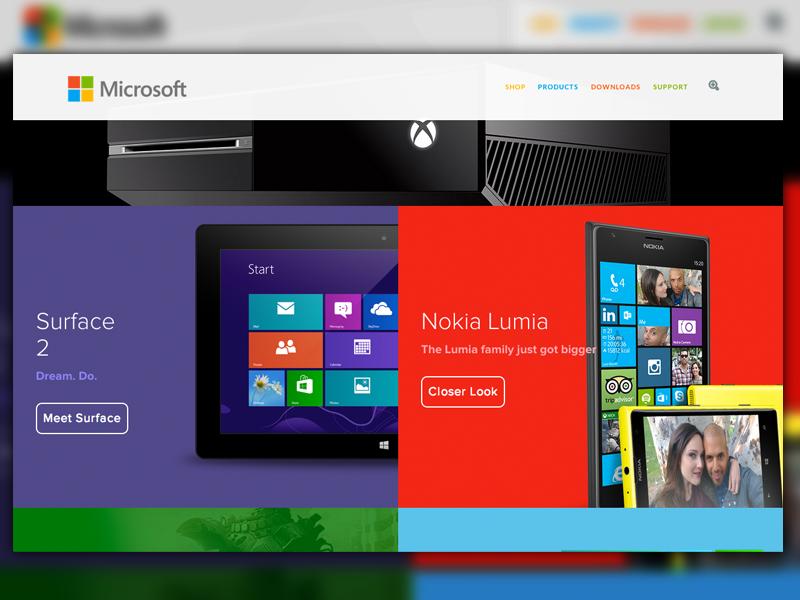 Sneak Peak - Microsoft Redesign microsoft design windows branding redesign web red metro flat