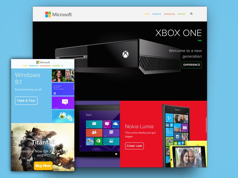 Microsoft Online Redesign - Live Version microsoft redesign windows xbox ui concept flat web ux blue