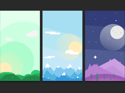 Sorrce Backgrounds background landscape seasons xcode weather flat blue green purple wallpaper app ios