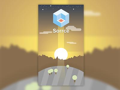 Login for Sorrce login app landscape flat material geometry logo log in register