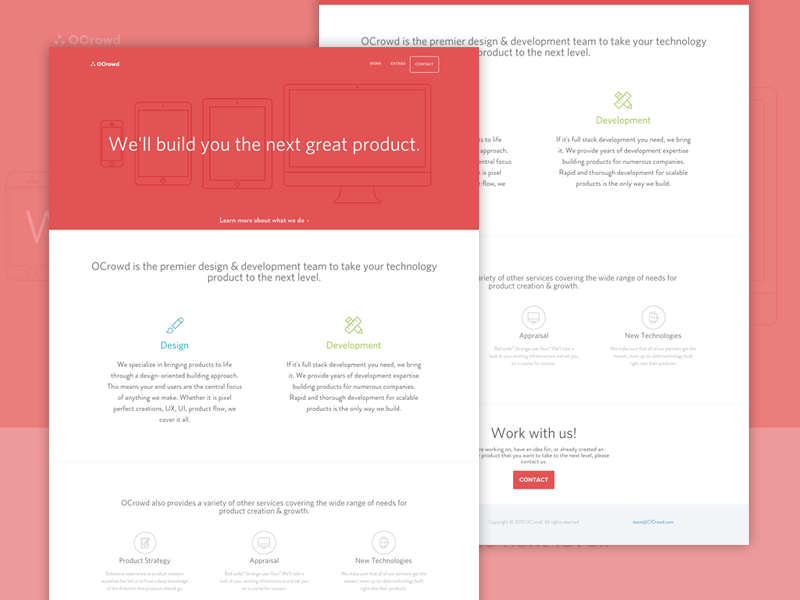 OCrowd Site team icon flat redesign launch product red landing