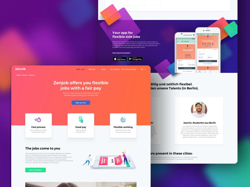 Zenjob Website talent colourful website