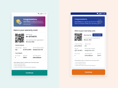 Mobile Warranty Card - Explorations design ui  ux design app ui  ux uxui uiux uxd uxdesign uidesign ui