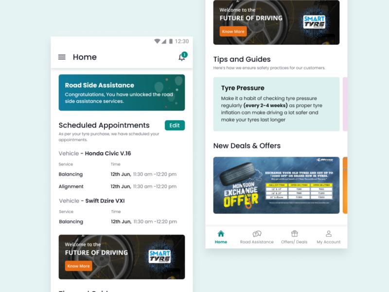 Consumer App for Managing Tyres - UI Exploration designer figma app ui ui  ux design design