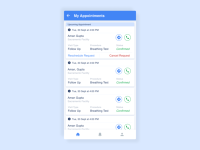My Appointments App Page Design