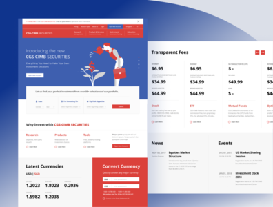 CGS-CIMB Securities | Early Exploration 2 trading ui landing page bank desktop website wealth management investment financial dashboard finance banking