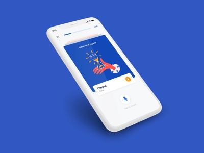 Language Learning App mobile app ui design witty illustration red blue and white blue mobile app ui language learning app design app uiux ui