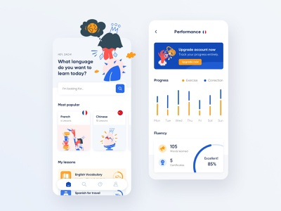Language learning app 3 red blue white app learning app language learning campaign illustration ux website ui