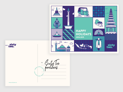 Sixtytwo Dribbble Postcard poster design indonesia icon typography campaign illustration branding doodle vector cards holiday card uidesign design illustrations postcards holiday