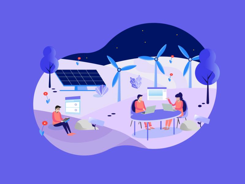 Digital learning _ 2 hero digital design illustration